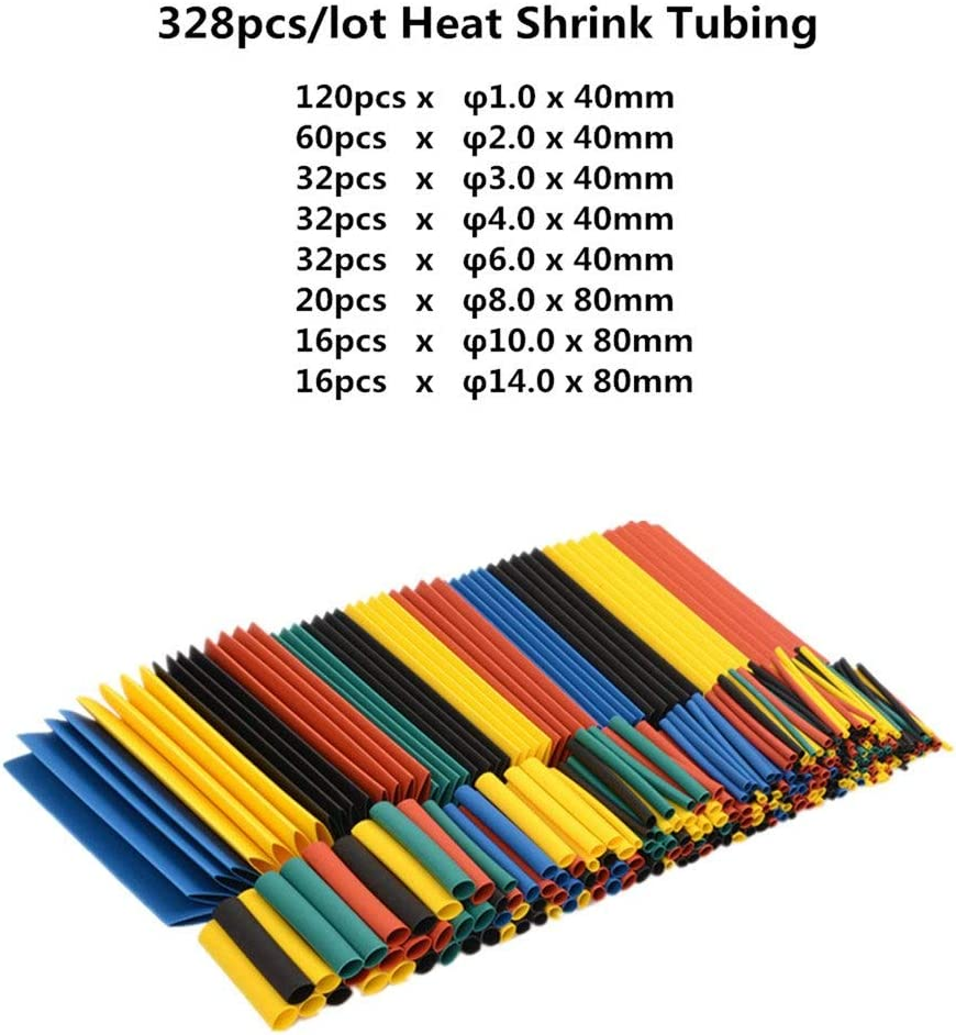Yosemire 328Pcs Heat Shrink Tubing Tube Wire Insulation Sleeving Kit Car Electrical Shrinkable Cable Wrap Set Assorted Polyolefin