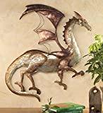 Wind & Weather Handcrafted Tin Metal Dragon Hanging Art Wall Sculpture, 26.25 W x 28.5 H x 2 D, Multicolor