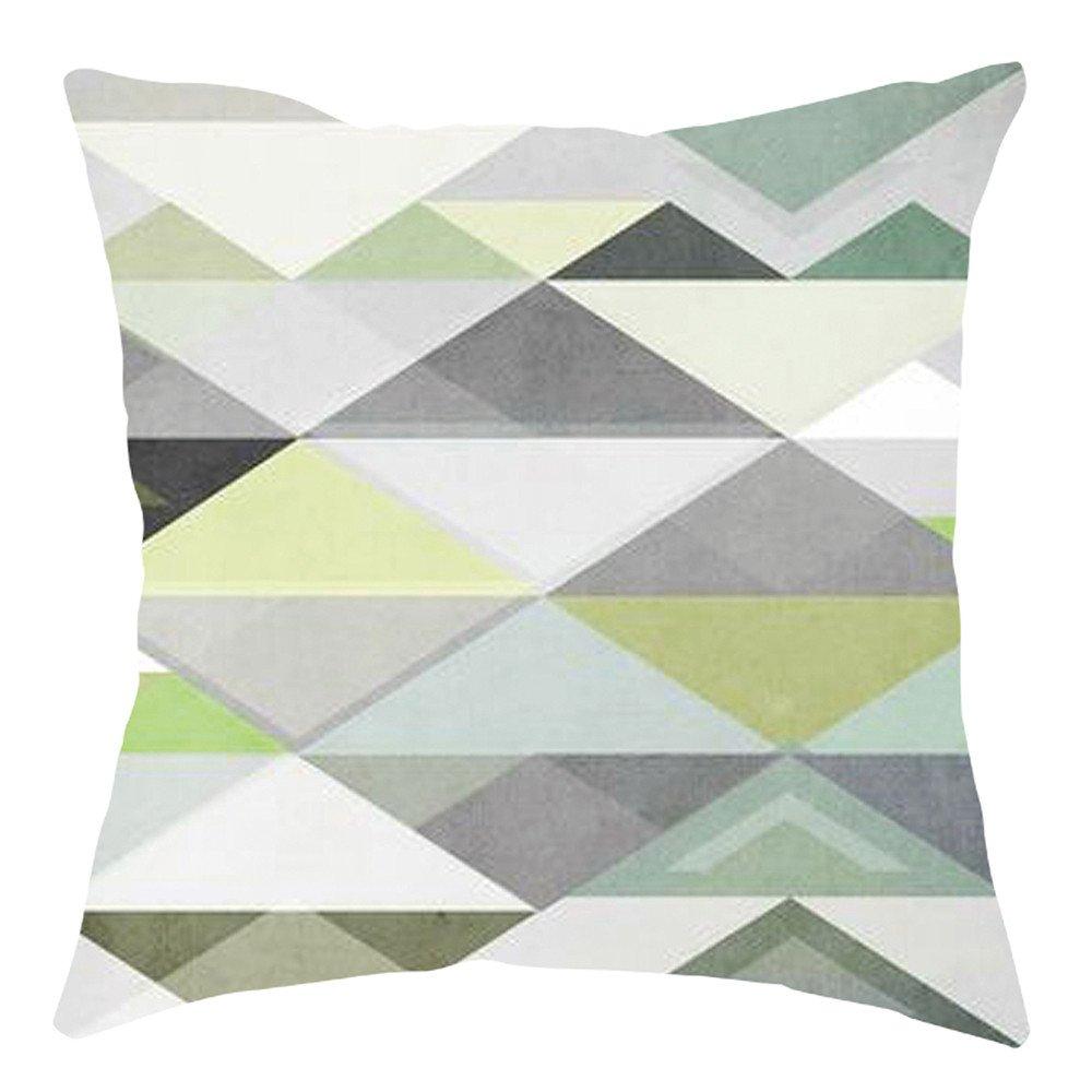 Pgojuni Home Cushion Cover Geometric Throw Pillow Cover Square Accent Cushion Cover Pillow Case for Sofa/Car/Bed 1pc (B)