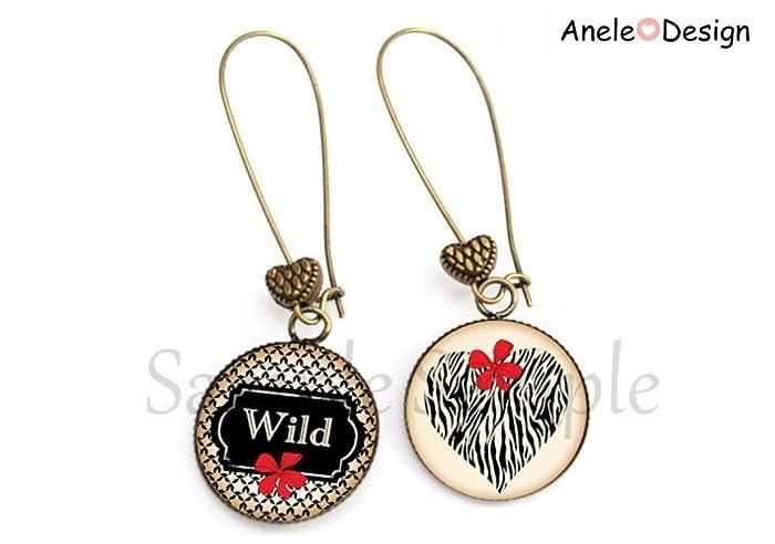 Boucles D Oreille Wild Wild Thoughts Nœud Rouge Cœur Noir Fleur