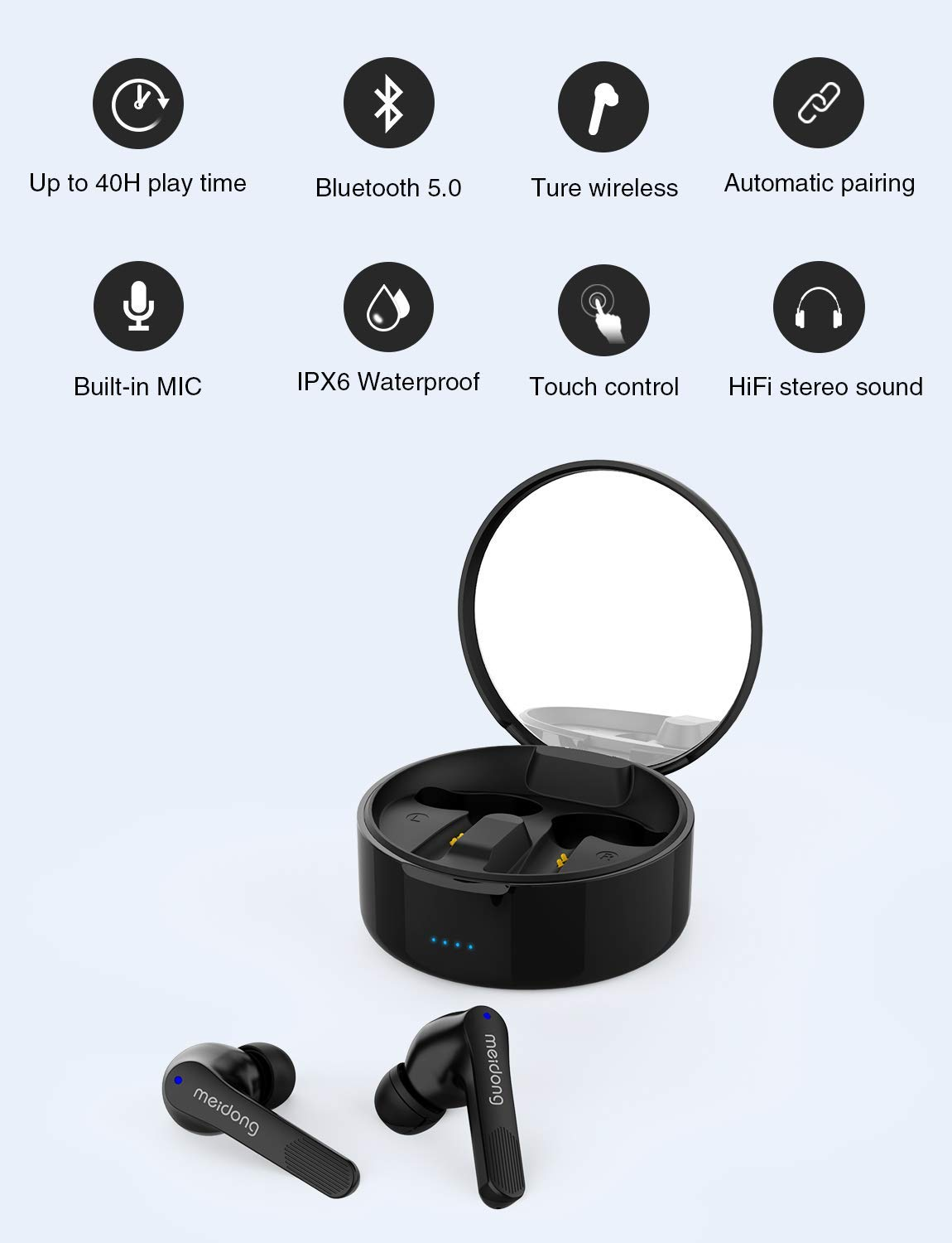 Wireless Earbuds,Meidong KY06A Bluetooth 5.0 Headphones in Ear Buds Wireless Earphones HiFi Stereo IPX6 Waterproof 40H Playtime for Workout Running Sports Gymwith Wireless Charging Case