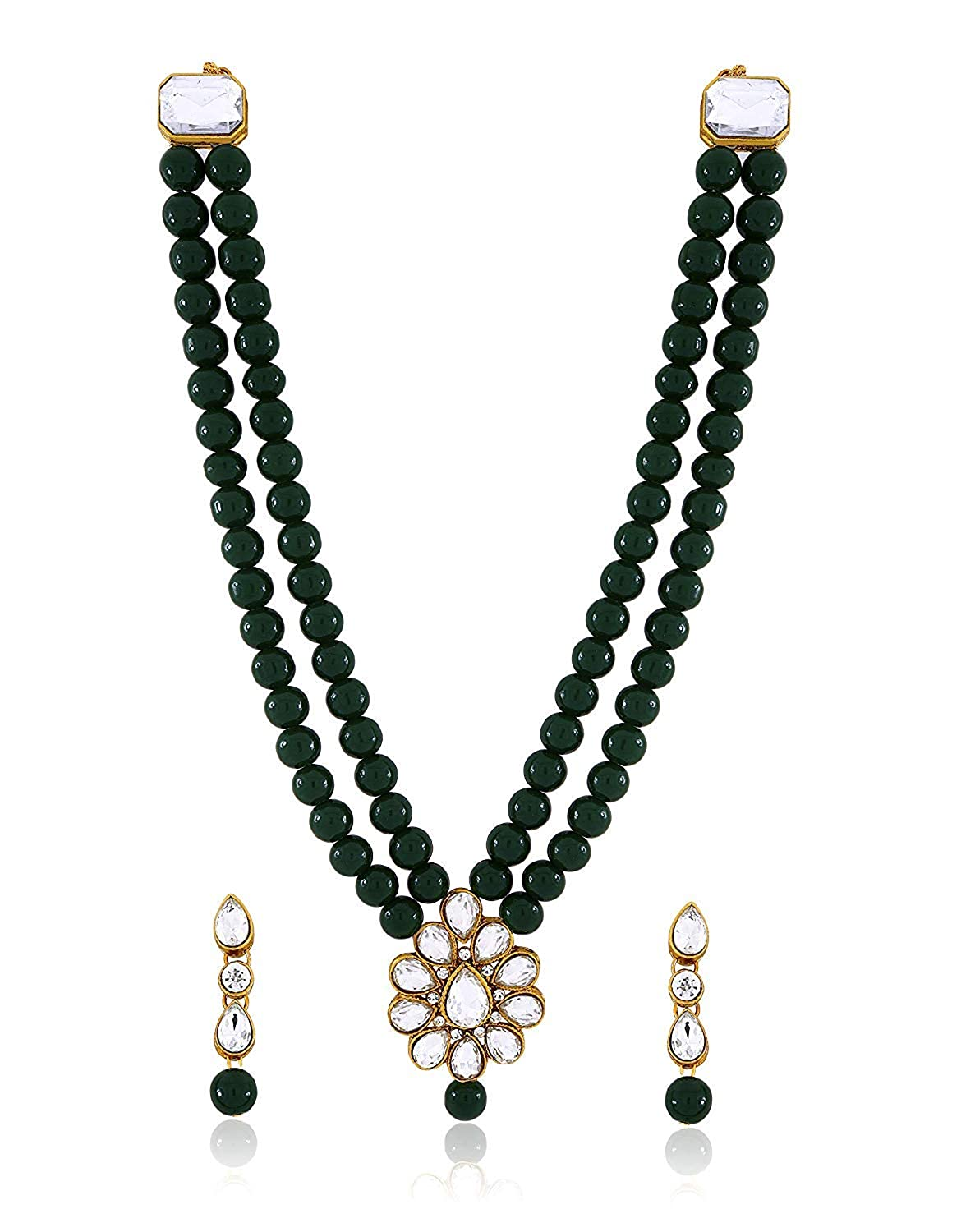 34e4e42c031 Buy CATALYST Green Pearl Necklace Set with Earrings
