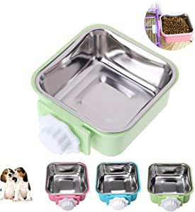 Love Dream Crate Dog Bowl, Stainless Steel Removable Cage Hanging Food Water Bowls with Bolt Holder for Puppy Cat Rabbite Birds