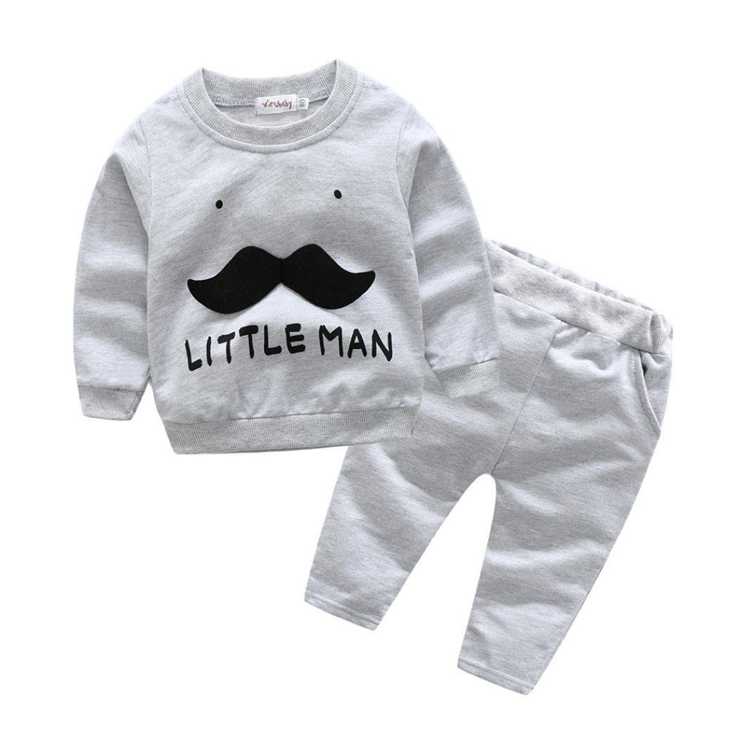 HOT,YANG-YI Fashion Toddler Baby Girls Boys Letter Beard Tops+Pants Clothes Set Outfit 2Pcs Set (Gray, 70cm/3M)