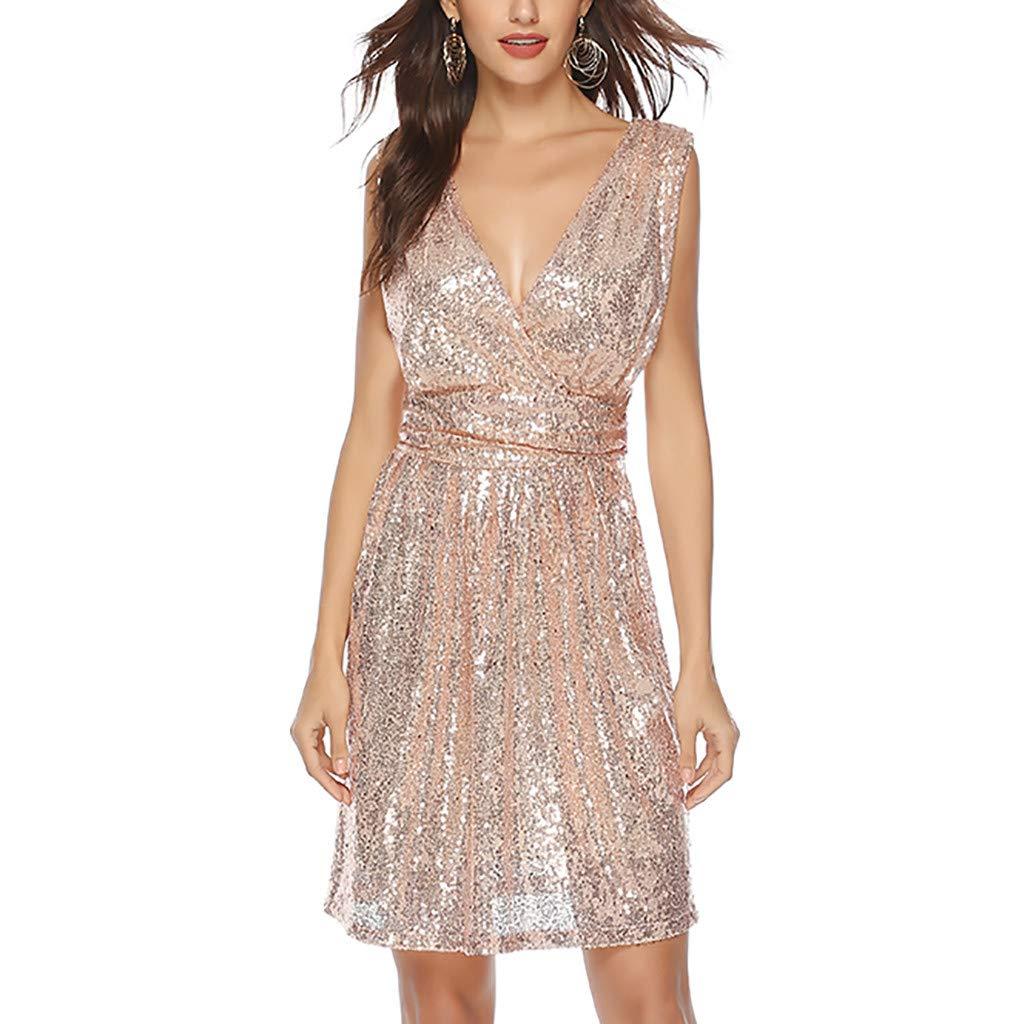 Women Sexy Sequin Deep V Neck Sleeveless Dress Ladies Plus Size Cocktail Party Nightclub Mini Dresses