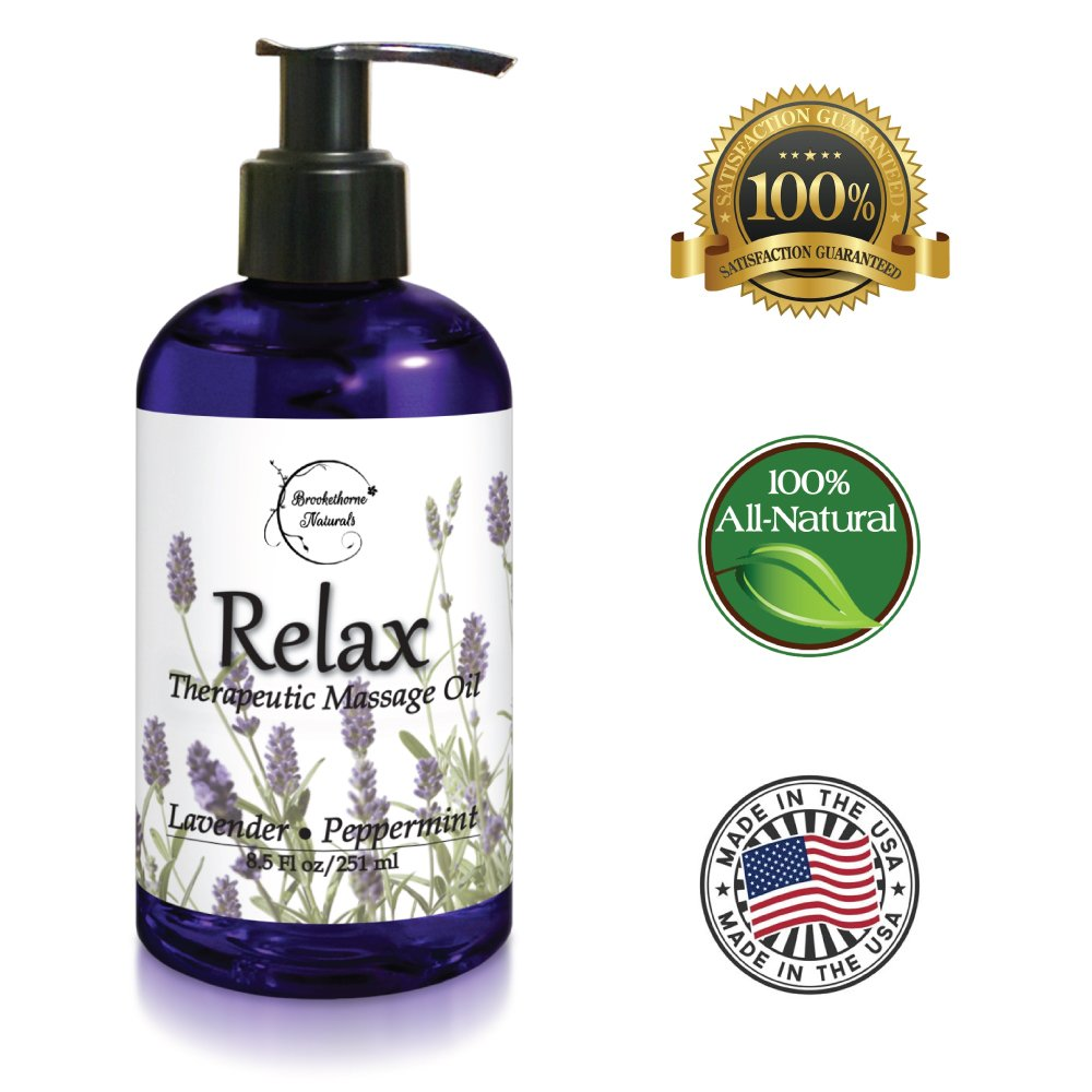 Relax Therapeutic Body Massage Oil - With Best Essential Oils for Sore Muscles & Stiffness – Lavender, Peppermint & Marjoram - All Natural - With Sweet Almond, Grapeseed & Jojoba Oil 8.5oz by Brookethorne Naturals (Image #5)
