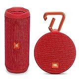 JBL Flip 4 Portable Waterproof Bluetooth Speaker and Clip 2 Waterproof Portable Bluetooth Speaker (Red)