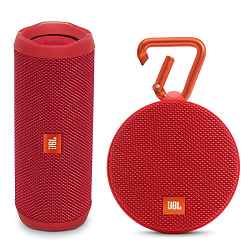 JBL Flip 4 Portable Waterproof Bluetooth Speaker and Clip 2 Waterproof Portable Bluetooth Speaker (Red)