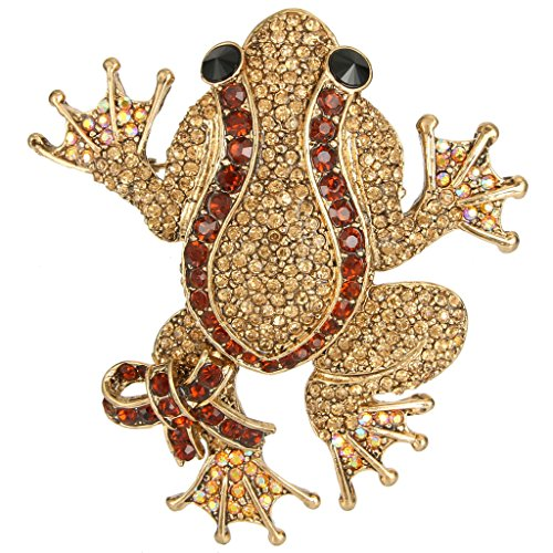 EVER FAITH Austrian Crystal Art Deco Adorable Frog with Bowknot Animal Brooch Brown (Austrian Crystal Frog Pin)