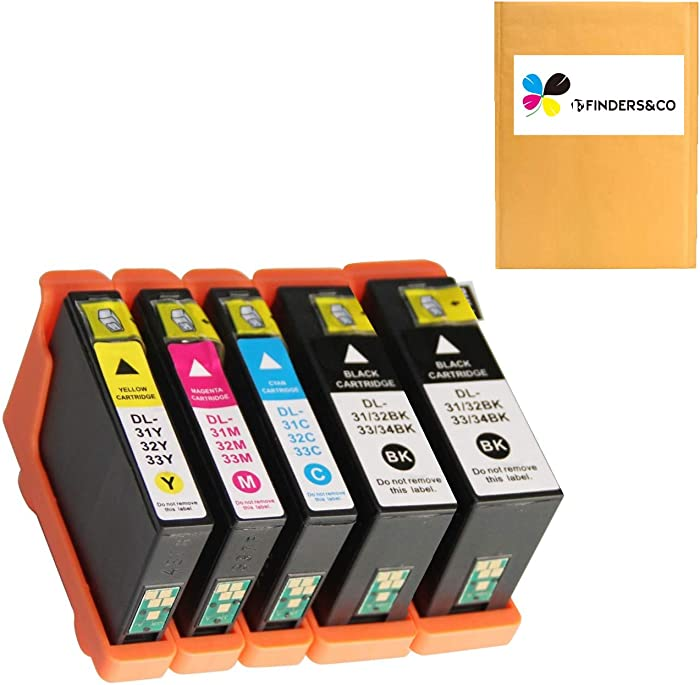 5 Pack Compatible Dell 31 32 33 34 Series Ink Cartridges Replacement for Dell V525w V725w Printer (2BK, 1C, 1M, 1Y)