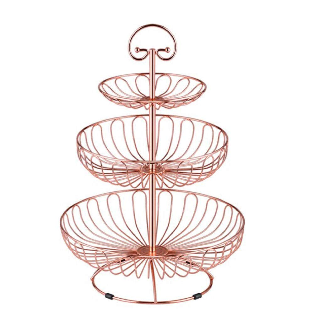 CYSDN Fruit basket 3-Tier Decorative Metal Round Wire Display Fruit Basket Countertop Stand