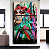 Indian Girl Chief Native American Painting Canvas Print Wall Pictures for Living Room Modern Home Decor Artworks Posters and Prints Pictures 3 Piece Framed, 24x32 Inch/3pcs