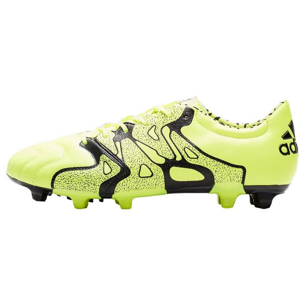 adidas X 15.2 FG/AG Leather Yellow Mens Soccer Cleats, Size