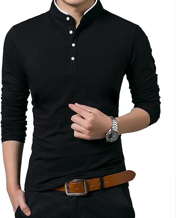 Polo Manga Larga con Cuello Mao Golf Camiseta para Hombre: Amazon ...