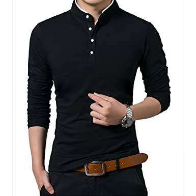 Polo Manga Larga con Cuello Mao Golf Camiseta para Hombre: Amazon ...