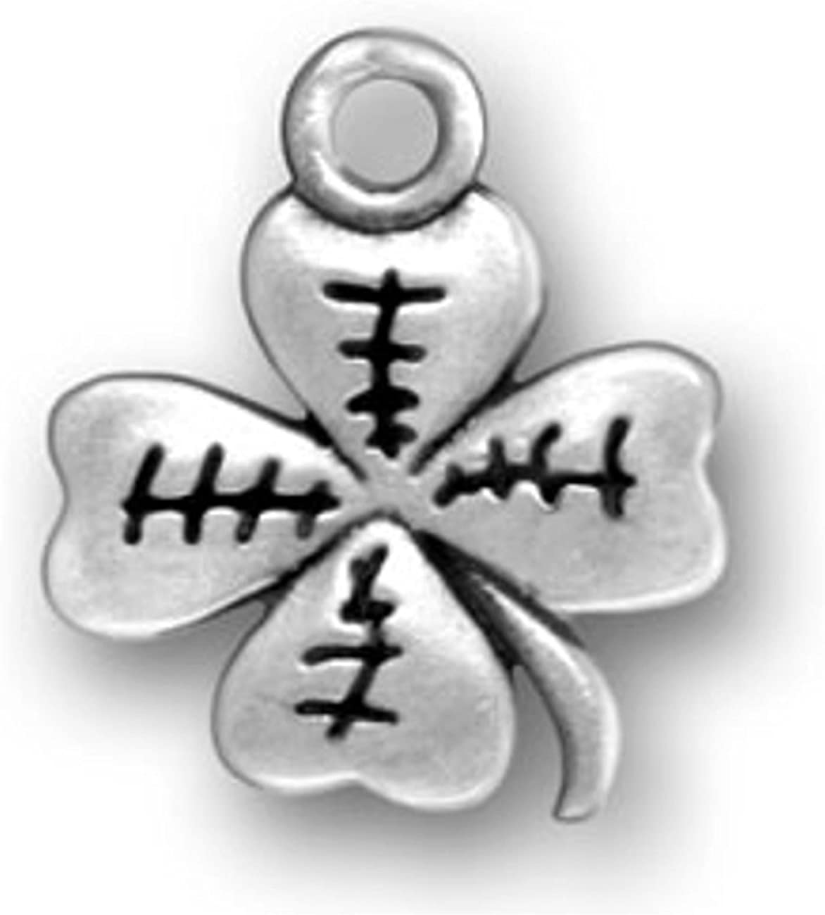Sterling Silver Etched Four Leaf Clover Good Luck Dangle Charm Bead For Bead Charm Bracelet