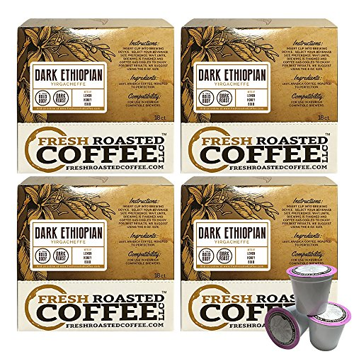 Dark Ethiopian Yirgacheffe Kochere Coffee Cups, 72 ct. of Single Serve Capsulesfor Keurig K-Cup Brewers, Fresh Roasted Coffee LLC.
