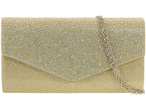 Xardi London, pochette da sera da donna, con glitter e diamanti, per matrimonio Gold