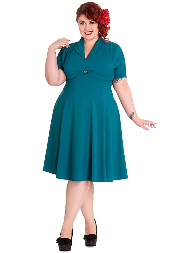 1940s Plus Size Clothing: Dresses History Hell Bunny Plus Size 60s Vintage Style Jocelyn Flare PartyDress $87.00 AT vintagedancer.com