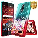 NageBee For ZTE Blade Spark Case (Z971), ZTE ZMax One (Z719DL), ZTE Grand X4 (Z956) w/ [Tempered Glass Screen Protector] Glitter Liquid Quicksand Flowing Sparkle Bling Clear Cute Case -Teal/Red