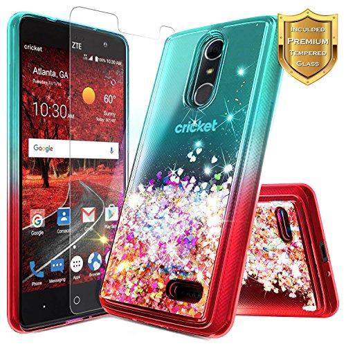 NageBee For ZTE Blade Spark Case (Z971), ZTE ZMax One (Z719DL), ZTE Grand X4 (Z956) w/ [Tempered Glass Screen Protector] Glitter Liquid Quicksand Flowing Sparkle Bling Clear Cute Case -Teal/Red (Waterfall Glass Grande Clear)