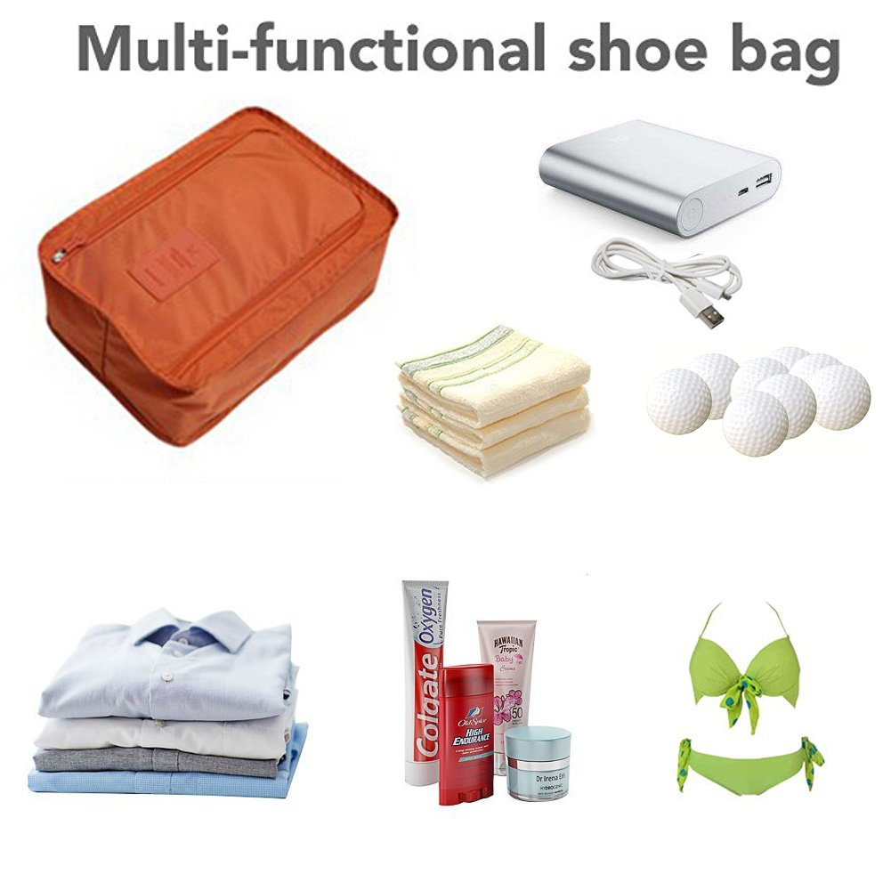 FXICAI Shoe Bags for Travel Zipper Portable Space Saver Bags Set of 2 Shoe Pouch