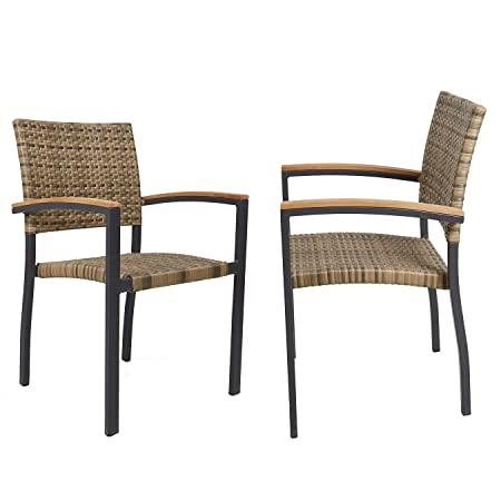 Dporticus Indoor Outdoor Stackable Patio Rattan Chair with Aluminum Frame Backyard Rattan Wicker Stack Chair Commercial and Residential Use – Set of 2 Brown