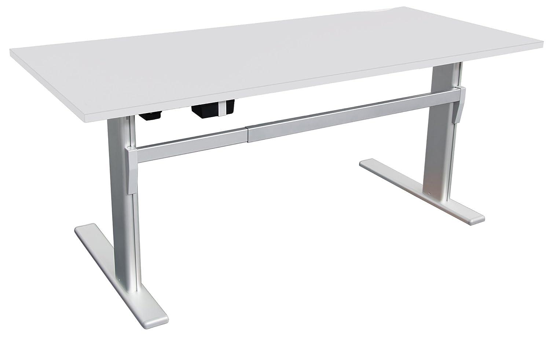 Schreibtisch Höhenverstellbar In Lichtgrau Ergonomisch Elektrisch