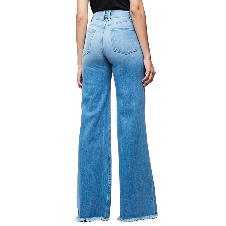 Women Wide Leg High Waisted Flared Jeans Retro Bootcut Raw Hem Denim Pants