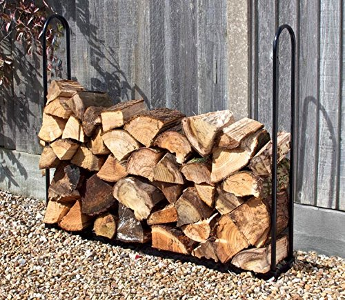 forestfox Fireplace Side Log Store 1m Plastic Coated Heavy Duty Steel Fire Wood Storage