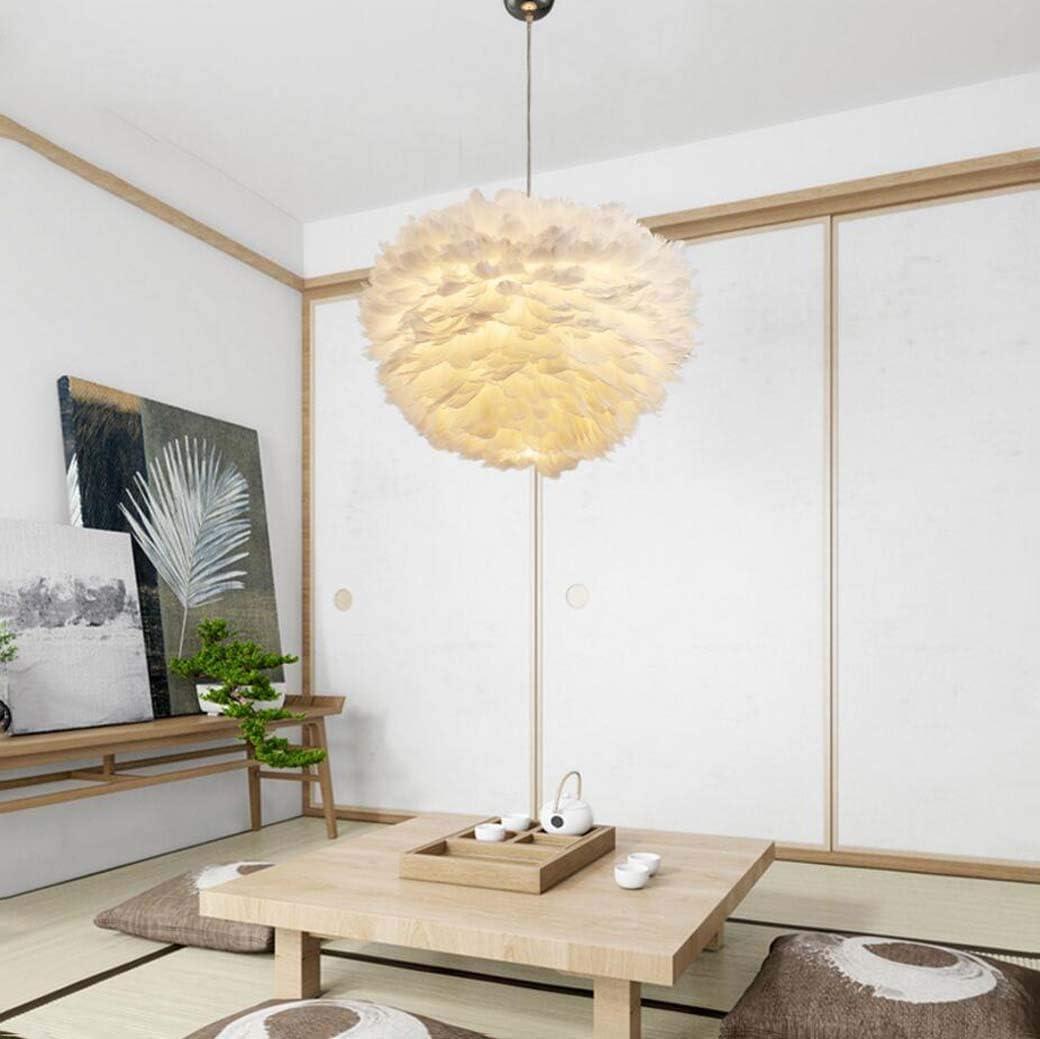 WI Bx.Jx Lámpara colgante de techo de plumas blancas, Simple White Feather Ball E27 Pantalla Lámpara de pie Lámpara decorativa Droplight Pantalla para sala de estar Dormitorio, 50Cm,30 centimetros