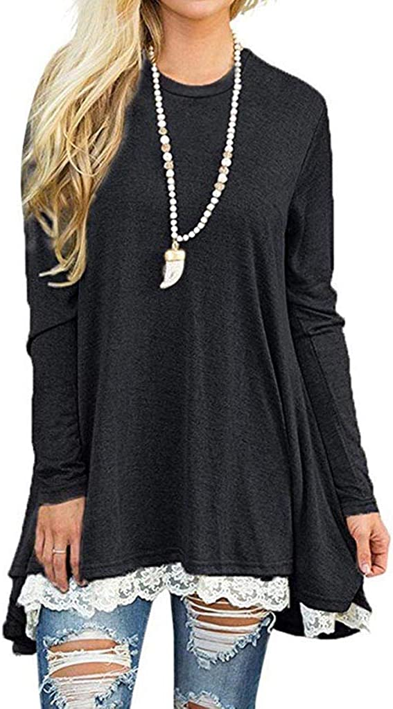 Eoeth Womens Lace Stitching Loose Blouse Shirts Casual Pleated Swing Long Sleeve Tunic Tops T-Shirt Pullover Tracksuits