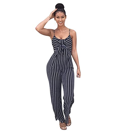 646019fc834 Amazon.com  COOKI Rompers and Jumpsuits for Women Ladies Strappy Sleeveless  Striped Long Pants Summer Beach Rompers Jumpsuits  Clothing