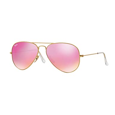 ab6dc778f2 Ray-Ban Classic Aviator Sunglasses in Matte Gold Pink Mirror RB3025 112 4T  58  Amazon.co.uk  Clothing