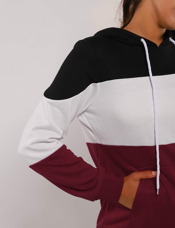 Blooming Jelly Women\'s Striped Hoodies Long Sleeve Drawstring Sweatshirt Color Block Tops with Pocket(Bkack,L=UK 14) Red