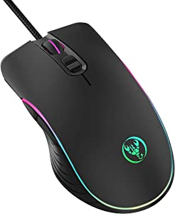 Gaming Mouse Wired,KKUYI 6400DPI Wired Backlit Mice Ergonomic Laptop PC Gaming Mouse with Breathing Light, Programmable USB Computer Mice for Windows PC Gamers