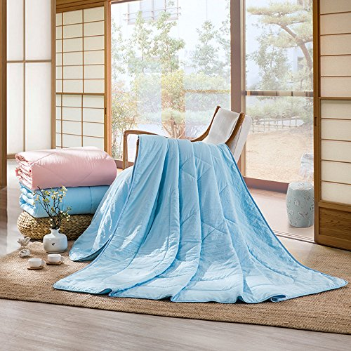 LOVO Microfiber Thin Comforter All Season Duvet Down Alternative Quilt Bedspread, Full size, Blue