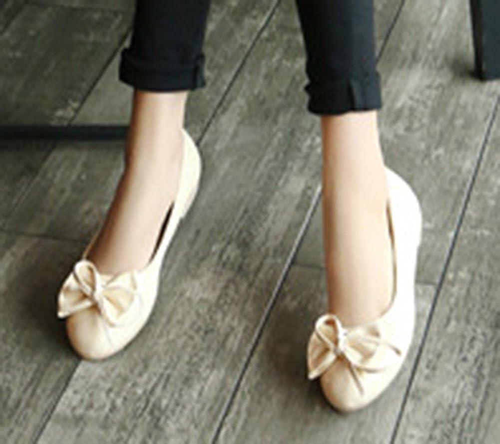 M US SFNLD Womens Sweet Bowknot Round Toe Flats Shoes Beige 9 B