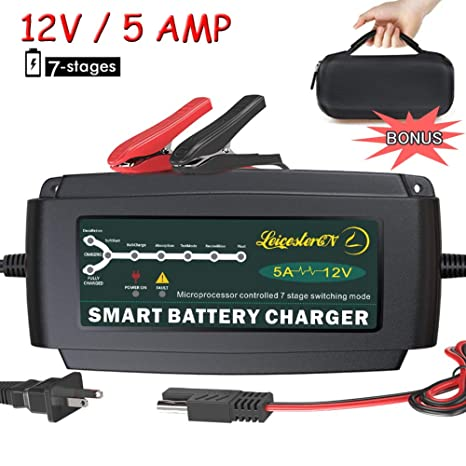 Deep Cycle Marine Battery Charger >> Lst 12v 5a Automatic Battery Charger Maintainer Smart Deep Cycle Battery Trickle Charger For Automotive Car Boat Motorcycle Lawn Mower Marine Rv Sla