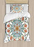 Antique Duvet Cover Set by Ambesonne, Ottoman Turkish Floral Pattern Tulips Medieval Baroque Effect on Dated Islamic Art, 2 Piece Bedding Set with Pillow Sham, Twin / Twin XL, Multicolor