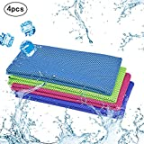 KAKOO Cooling Towel 4 Pack Instant Relief Microfiber Cool Towels Chilling Neck Wrap Ice Cold Rags/Scarf for Sports Gym Fitness Camping Cycling Hiking Workout Golf Travel