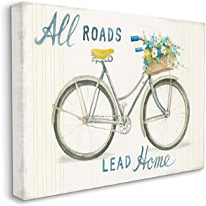 Stupell Industries All Roads Lead Home Bicycle Flower Basket Cottage Quote, Designed by Danhui NAI Wall Art, 24 x 30, Canvas