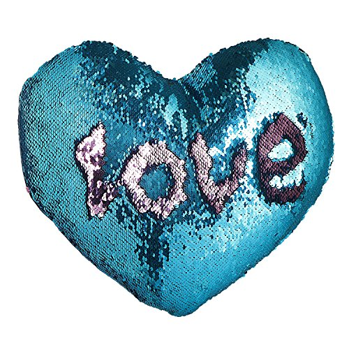 Mermaid Pillow with Pillow Insert By U-miss, Two-color Decorative Heart Shape Reversible Sequin Pillow 13''×15'' (Heart-Shaped, Pink-Blue)
