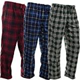DG Hill (3 Pairs) Mens PJ Pajama Pants Bottoms Fleece Lounge Sleepwear Plaid PJs with Pockets Pants (Red, Blue & Green), Multicolor, Large: 33-35'' waist