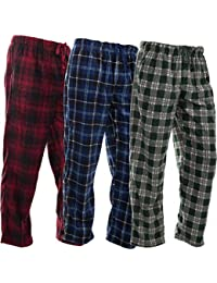 3 Pack Mens PJ Pajama Pants Set Bottoms Fleece Lounge Sleepwear Plaid PJs with Pockets Microfleece
