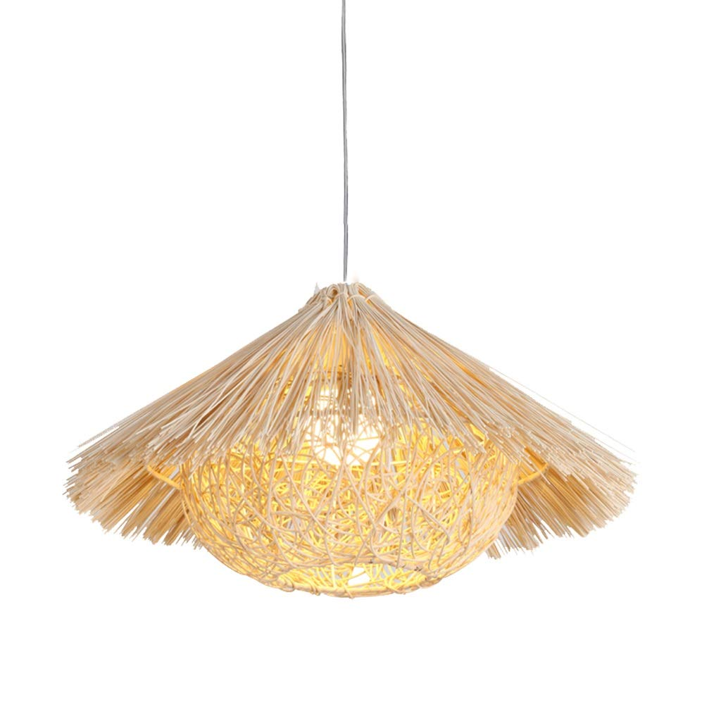 Southeast Asian Style Lanterns Creative Personality Restaurant Light, Retro Bamboo Rattan Lamp Chandelier Birdcage Chandelier (Size : M)