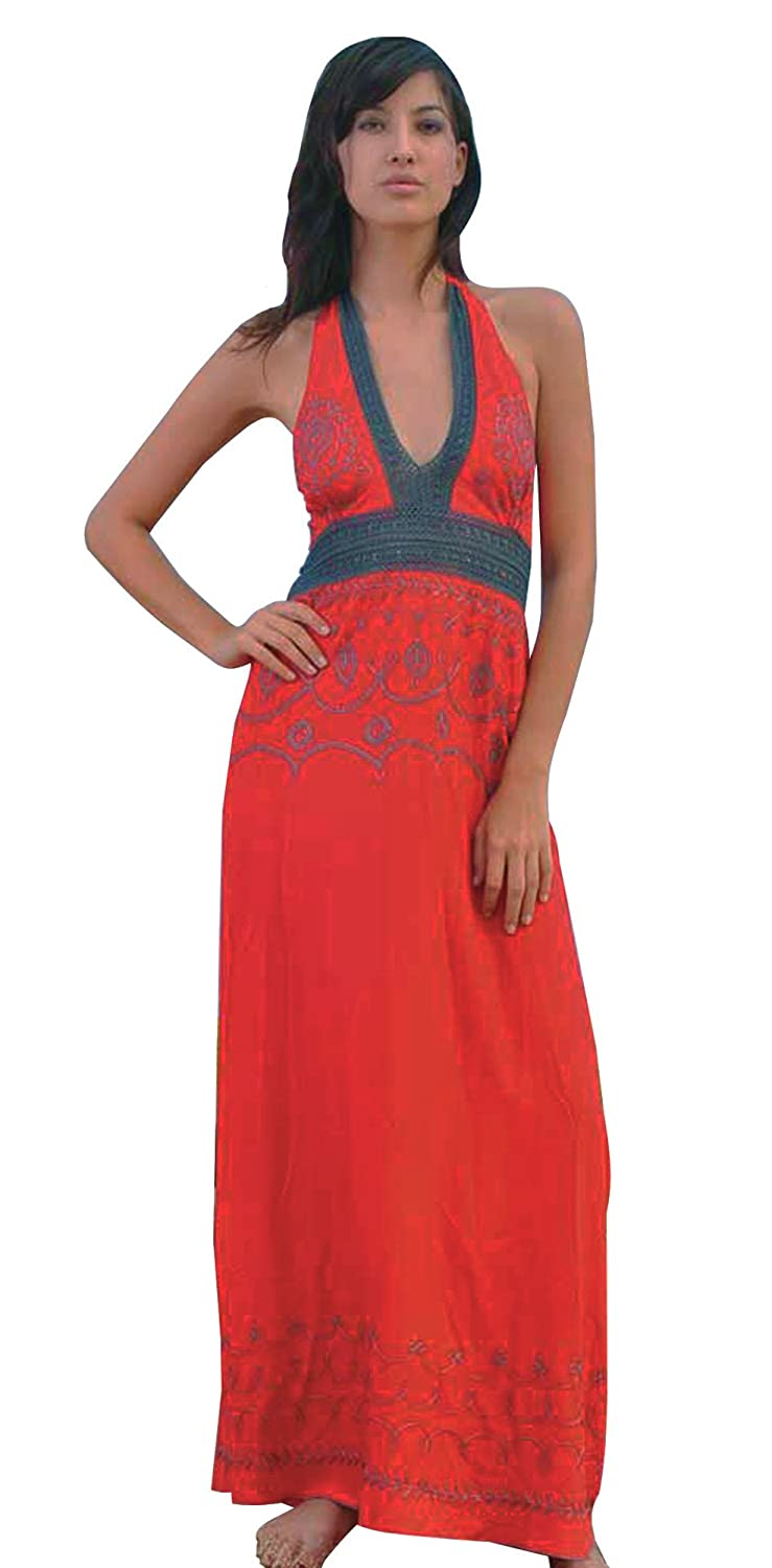 e67c0fd6629 Stark Red Embroidered Maxi Halter Dress Elastic Back Lace Mid-rift Ties  Behind the Neck at Amazon Women s Clothing store
