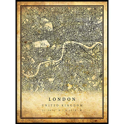 London map Vintage Style Poster Print | Old City Artwork Prints | Antique Style Home Decor | United Kingdom Wall Art Gift | Old map Print 18x24