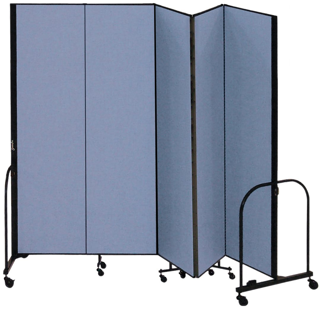 Screenflex Commercial Portable Room Divider (CFSL685-DB) 6 Feet 8 Inches by 9 Feet 5 Inches Long, Designer Lake Fabric