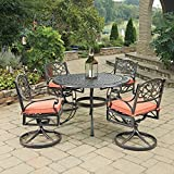 Home Styles 5555-325C 5 Piece Biscayne Round Outdoor Dining Set, Black/Rust Bronze For Sale